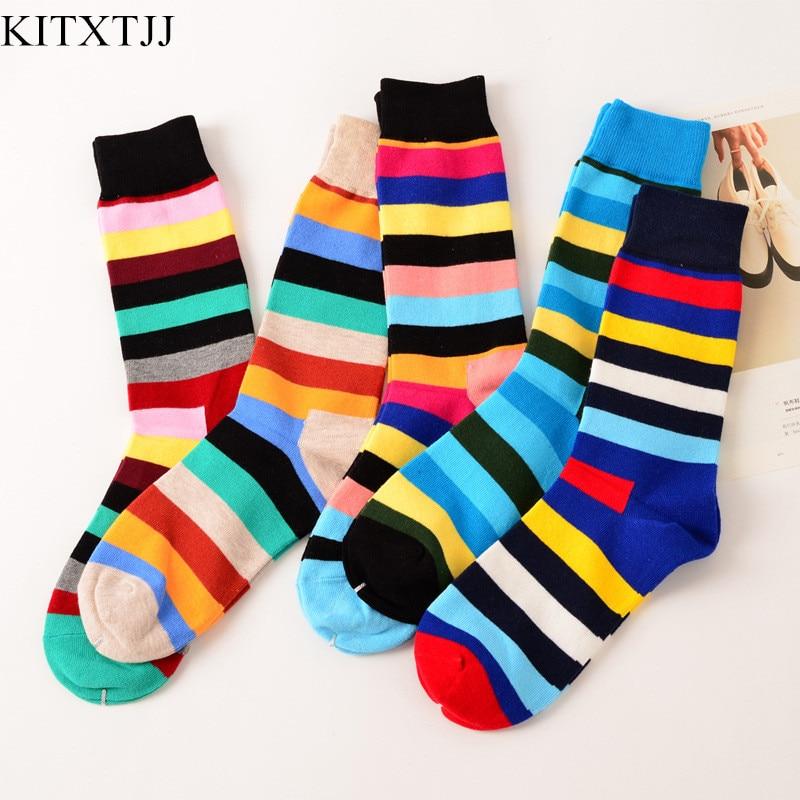New Fashion Socks Men Striped Pattern Cotton Crew Long Designer Skate Brand Happy Meias Art Dress Harajuku Novelty Sox Wholesale