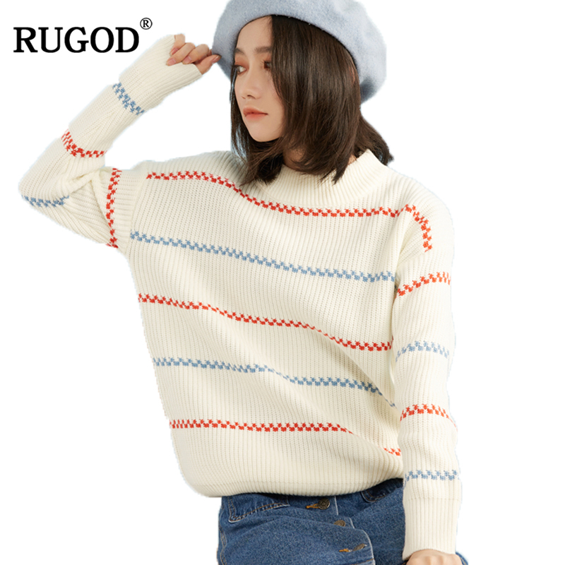 RUGOD Casual O-neck Striped Pullover Long-sleeved Loose Christmas Sweater For Women Knitted Winter Pullovers and Sweaters