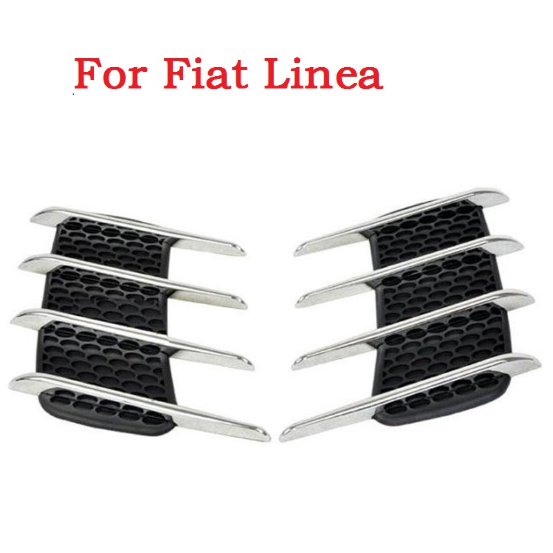 a pair Car Shark Gills Exterior Decor Side Air Intake Flow Grille Vent Outlet Decorative Styling for Fiat Linea car styling цена и фото