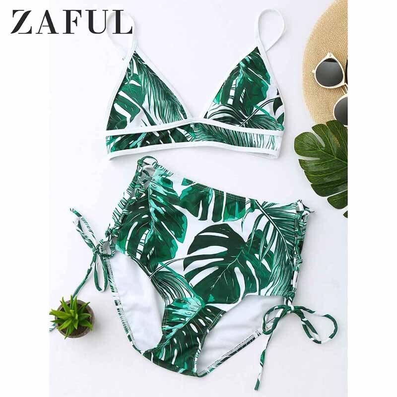 ZAFUL 2019 Women New High Waist Tropical Leaf Print Bikini Set Sexy Female Swimwear Lace Up Plant Spaghetti Straps Swimsuits