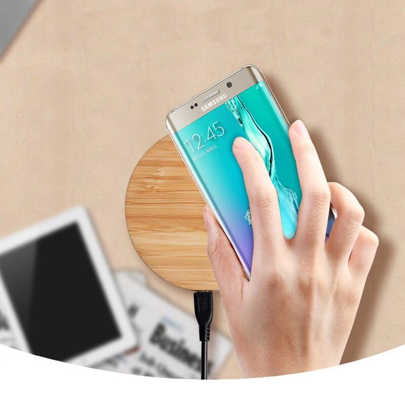 Madera Qi estándar 5 V 2A teléfono móvil inalámbrico Puerto USB cargador magnético para Samsung Nota 8 S8 más S8 s7 S6 borde + Nota 5