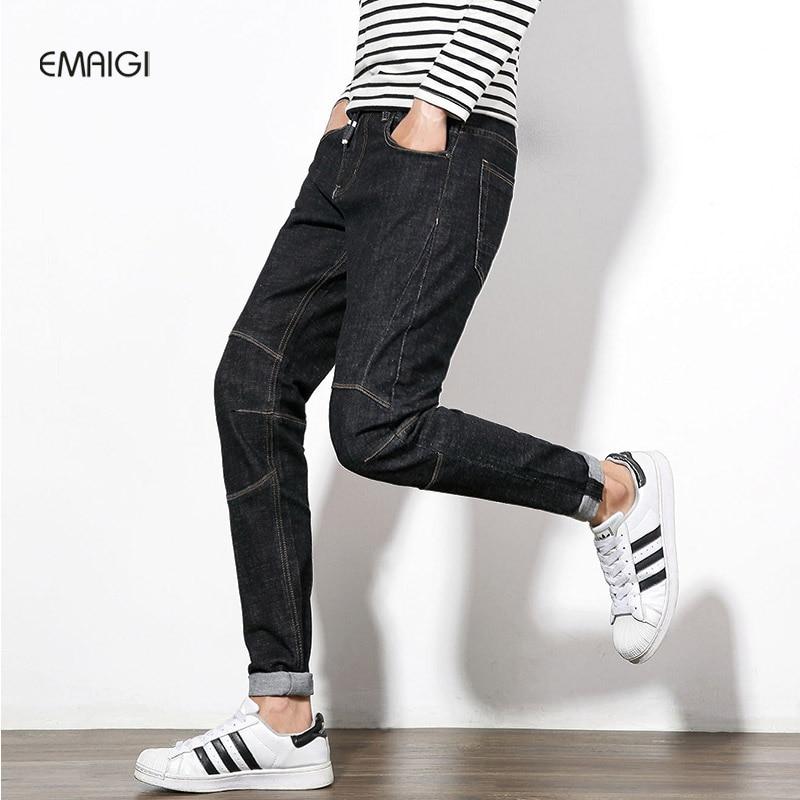 L Size 29-46 Mens Jeans Fashion Casual Men Hip Hop Denim Trousers Straight Male Elastic Denim Jean Pant Homme large size 29 42 young men jeans hole patchwork denim harem pant male fashion casual denim pant trousers
