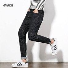 L размер 29-46 мужские джинсы мода повседневная мужчины hip hop джинсовые брюки прямой мужской упругой джинсовые брюки джинсовые homme