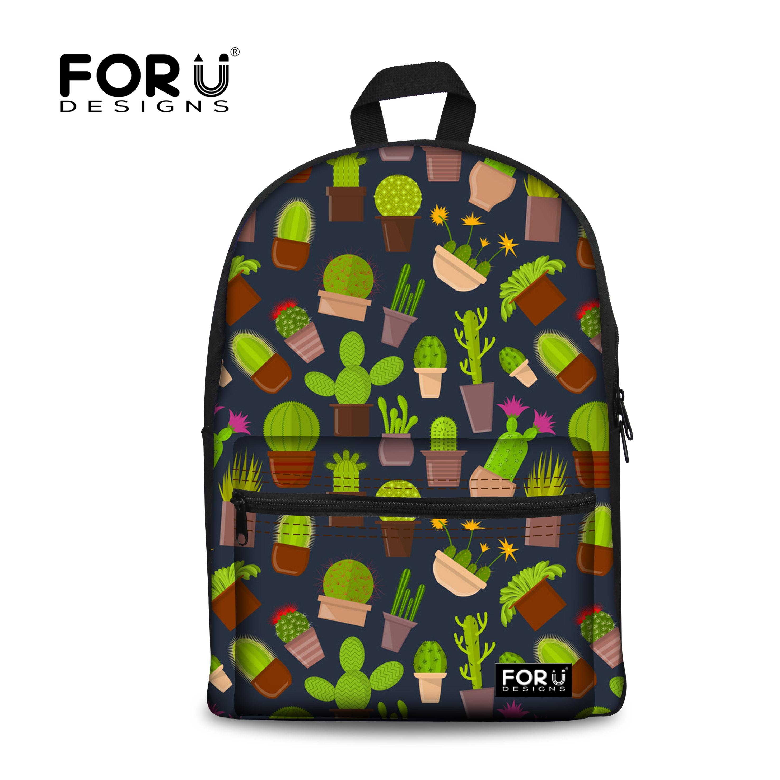 FORUDESIGNS Cute Cactus Print School Bags For Teenager Girls Fashion Kids Book Knapsacks Women Female Travel Backpack Schoolbag