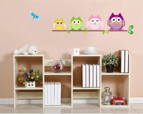 4 Colorful Owls Butterfly Baby Kids Nursery Decals Wall Sticker Decor PVC B ku1