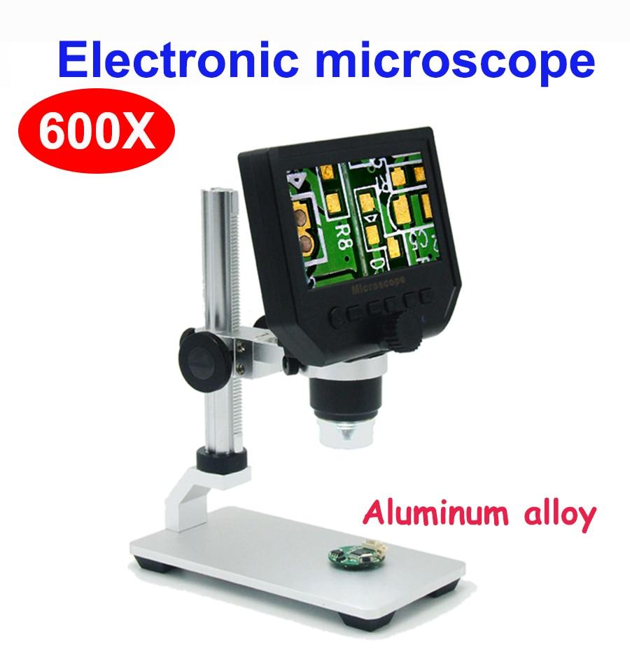 Microscopio digital 600X, microscopio electrónico de vídeo, microscopio de 4,3 pulgadas HD LCD para soldadura, lupa de reparación de teléfono + soporte de metal