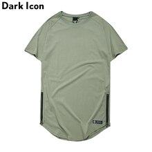 DARK ICON Solid Color Side Zipper Round Hemline Hip Hop T-shirt Men 2019 Summer Extended Plain Tshirt Men Longline Tee Shirts