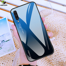 Keajor Case For Samsung Galaxy A70 Luxury Gradient Tempered Glass Hard Cover Shockproof Back On Funda