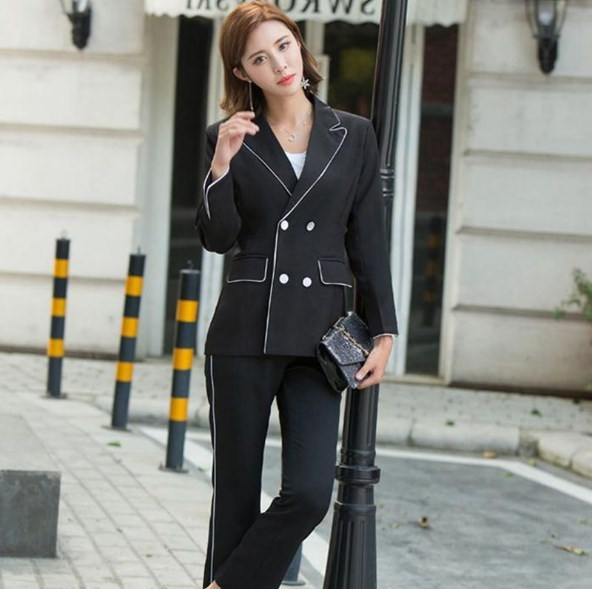 Double Breasted Blazer and Ankle length Pants Womens Trouser Suits Blazer With Pants 2 Pieces Set Ladies Formal Pant Suits Black