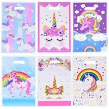 Sacs à cadeaux licorne en plastique 10 pièces/lot, sac à bonbons, sac à flamant rose pour enfants, pour fête danniversaire, décoration à thème pour mariage