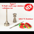 GR 2 Universal Domeless Titanium Nail Titanium Carb Cap with Titanium Dabber Set for Wholesale