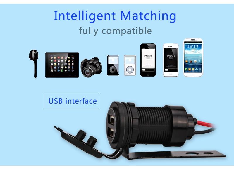 12V երկկողմանի մոտոցիկլ USB լիցքավորիչ - Ավտոմեքենաների էլեկտրոնիկա - Լուսանկար 3