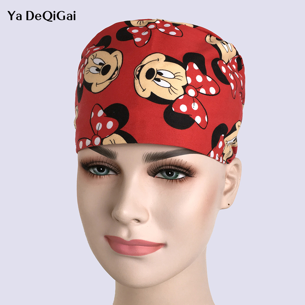New Medical Surgical Scrub Cap Surgical Surgery Camouflage Color Hat Dentist Pet Nurse Doctor Cap/hats Mickey Print Surgery Caps