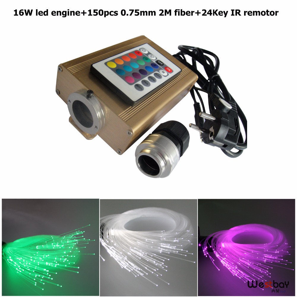 RGB colorful LED Fiber Optic Star Ceiling Kit Light with 16W led driver,150pcs 0.75mm 2m,24key Remote 27w led rgb fiber optic illuminator with 24key ir remote and shooting star wheel ac100 240v input