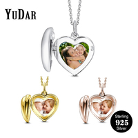Heart Locket Photo Pendant Necklace 925 Sterling Silver Personalized Engravable Name Necklaces Gifts for Family Girls YDS 1090