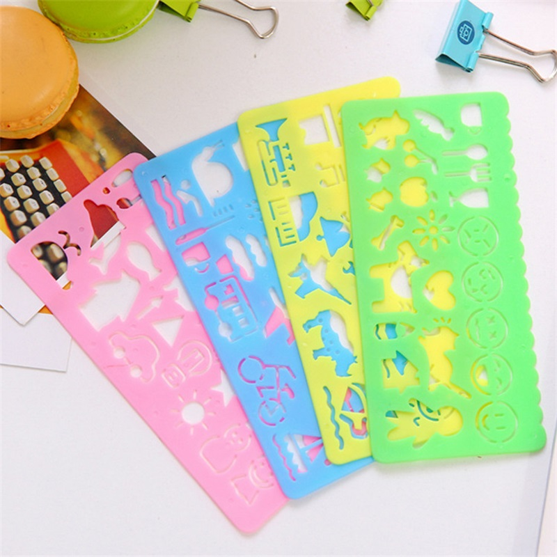 4pcs Korea Stationery Candy Color Ruler Oppssed Drawing Template Office Painting Supplies