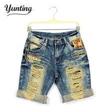 Men women lover loose cuffed ripped hole jeans shorts 2017 summer new design boyfriend knee length