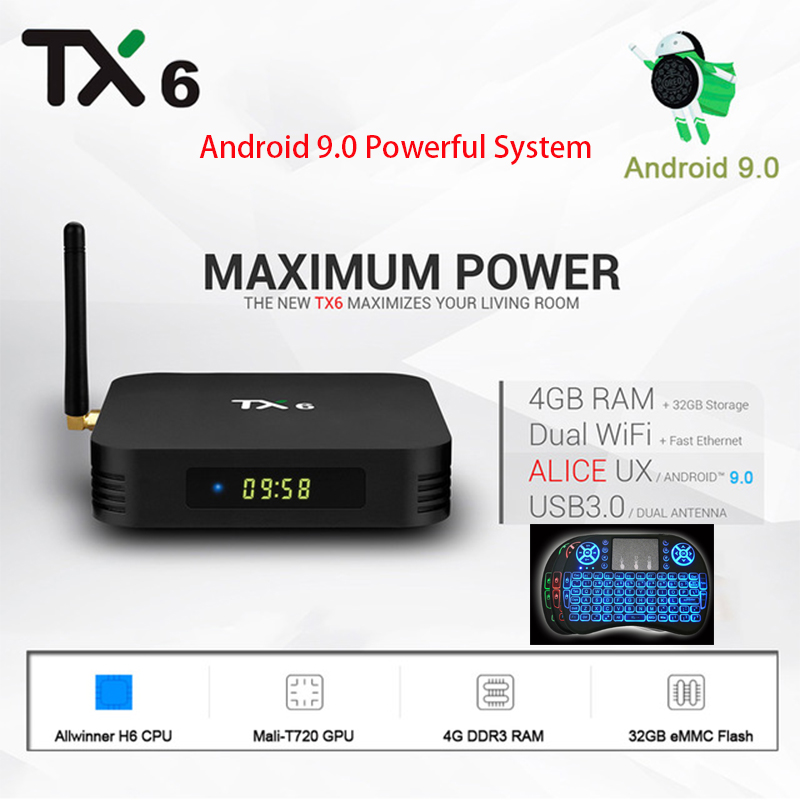 Android 9.0 Tanix TX6 TV BOX Allwiner H6 4K Android 4GB 32GB/64GB TX6 H.265 Dual 5/2.4G Wifi Android Smart Media Player TV BoxAndroid 9.0 Tanix TX6 TV BOX Allwiner H6 4K Android 4GB 32GB/64GB TX6 H.265 Dual 5/2.4G Wifi Android Smart Media Player TV Box