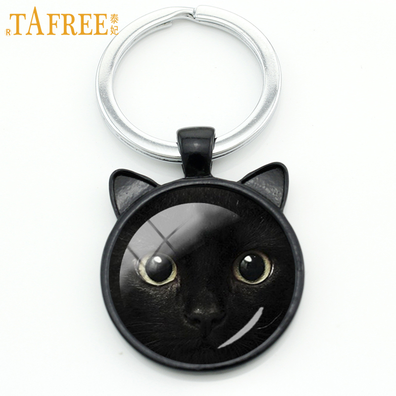TAFREE Vintage charms Black Cat keychain men women novelty fashion Cat Ear animal key chain ring holder cartoon jewelry CN326 цены онлайн