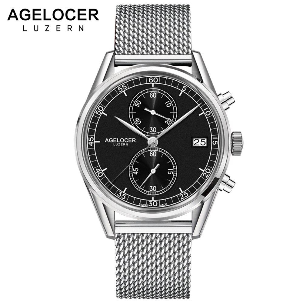 Agelcoer Date Clock Male Steel Strap Chronograph Wrist Sport Watch Casual Quartz Watch Men Relogio Masculino Waterproof 50m steel strap number quartz date watch