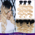 Malaysian Body Wave 613 Blonde Ombre Human Hair 3Bundles With 13x4 Lace Frontal Two Tone Ombre Hair Extension With Frontal