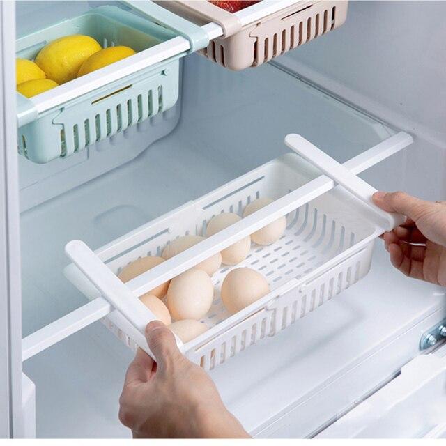 Estante de almacenamiento de cocina organizador de cocina accesorios de cocina organizador estante de almacenamiento caja de almacenamiento de nevera