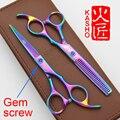 Hot vender Japão tesoura de corte de cabelo de alta qualidade, Gem screw 6.0 polegada profissional cabeleireiro tesoura tesouras do cabelo do barbeiro