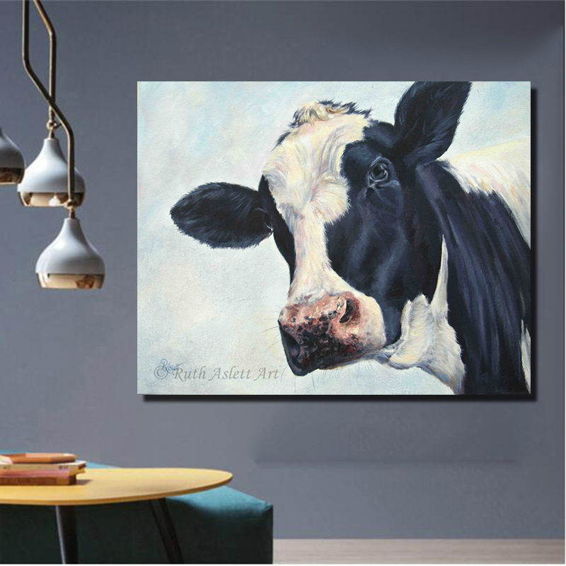 RELIABLI Wall Art Cow Painting Nowoczesne zdjęcia do salonu Canvas Wall Prints Plakaty Animal Cuadros Decoration