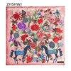 100 Cashmere Women Scarf Fashion Luxury Brand Bandana Bird Flower Horse Cashmere Shawl Square 130 130