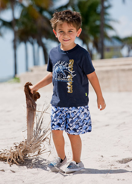 Children Boy's Summer Dinosaur Graphic Clothes Sets, Short