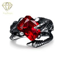 Mens Ruby Rings Vintage Red Cubic Zirconia Snakes Black Titanium Stainless Steel Ring Punk Style Biker Jewelry Wholesale