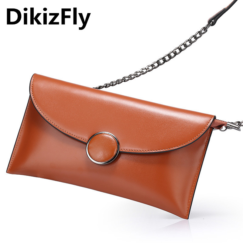 DikizFly women Leather Day Clutches High Quality messenger bag Chains women bags handbags women famous brands clutch sac a main new 2017 women bag fashion messenger bags female designer leather handbags high quality famous brands clutch bolsos sac a main