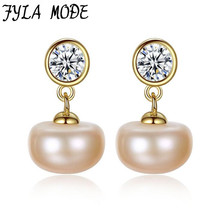 White Gold Color Natural Cultured Freshwater Pearl Stud Earrings Cute AAAAA Luster Half Round White