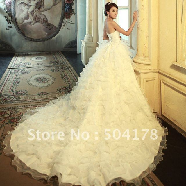 2012 New Arrival Luxury Tube Top Big Train Royal Vintage Wedding Dress Hot Selling