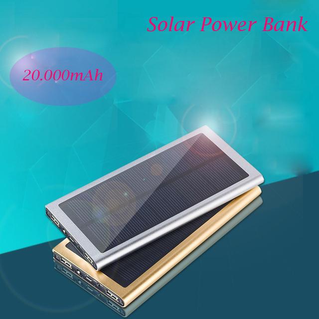 Recomendar 20000 mAh Banco de la Energía Solar con LED ultra delgada Externa powerbank cargador solar para todo el teléfono móvil al aire libre