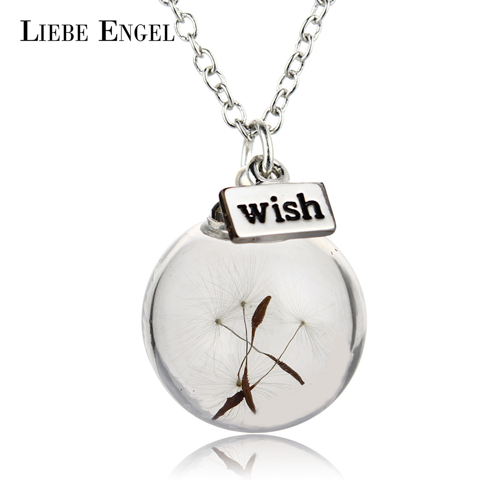 LIEBE ENGEL New Fashion Glass Ball Dandelion Pendant Wish Long Chain Statement Necklace Women