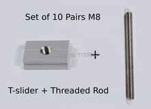 20PCS Set (10 Pairs) of T-slider for Standard T-track + Threaded Rod M8 100mm