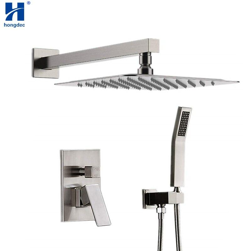 Hongdec Luxury Rainfall Shower System With 12 Rain Shower And Handheld Set Brushed Nickel Shower System Aliexpress