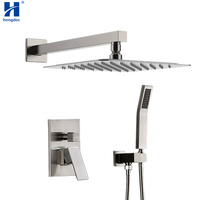 Hongdec Luxury Rainfall Shower System with 12 Rain Shower and Handheld set Brushed Nickel