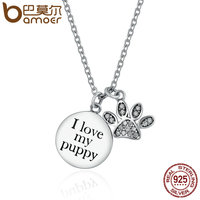 BAMOER Genuine 925 Sterling Silver Unique Doggy Puppy Footprints Pendant Necklaces For Women Sterling Silver Jewelry
