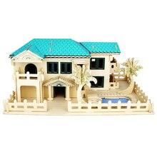Crianças Brinquedo De Madeira 3D Puzzle Para Crianças E Adultos Villa Na Praia de Qualidade Montessori Educationaly Brinquedo Diy Como Uma Família presente
