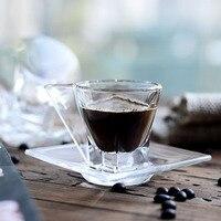 Cristal de chumbo-se Café Espresso xícara de Café Prato Copo Canecas de Vidro Temperado de Alta Qualidade