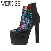 WETKISS 2017 Floral Print Cow Leather Ankle Boots Women Super High Heels Thick Platform Shoes Woman