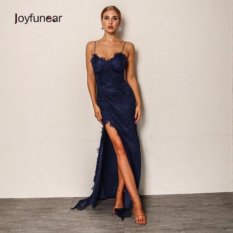 1786f28d0f Joyfunear 2018 Fashion Women autumn Dress Bodycon Vintage Sexy Club Maxi  Lace Dress V Neck Spaghetti Strap Long Dresses Vestido