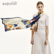 [BAOSHIDI] 2019 luksusowa marka 100% długi jedwabny szal, kobiety satyna jedwabna modny szal, pani elegancka miękka, wiosenna naturalny jedwab szalik