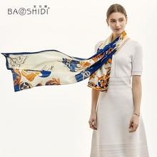 [Baoshidi] 2019 럭셔리 브랜드 100% 실크 긴 스카프, 여성 실크 새틴 패션 목도리, 레이디 우아한 부드러운 봄 천연 실크 스카프