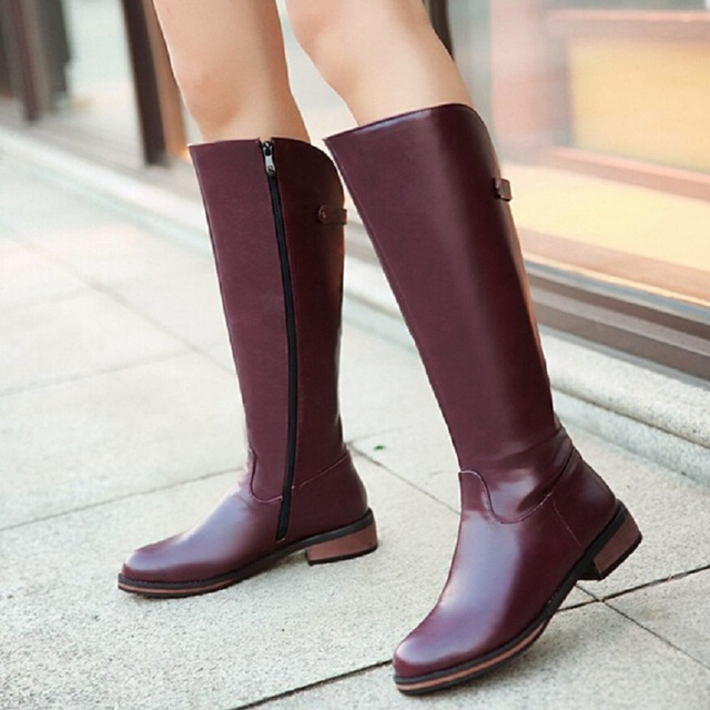 2b45a8676172b Shoes Women New Fashion Side Zipper Knee High Boots Women Motorcycle Boots  Long Low Heel PU Leather Flats Shoes Big Size 26-62