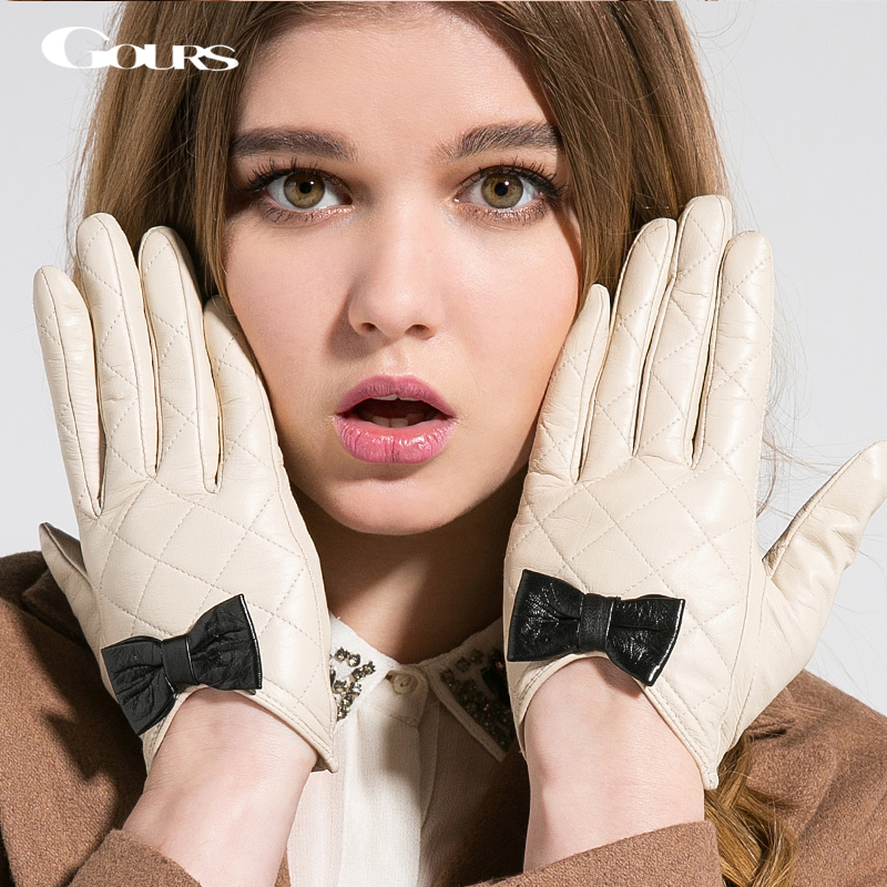 Gours Women's Winter Genuine Leather Gloves Brand White Black Touch Screen Gloves Ladies Girls Goatskin Bow Cute Mittens GSL009