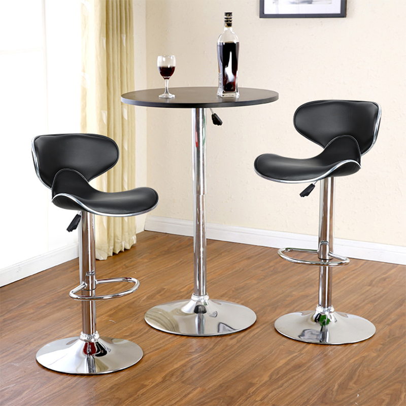 New 1 Pair High Quality PU Leather Butterfly Backrest Chair Bar Stool Gas Lift Height Adjusted Rotatable Kitchen Bar Chair HWC