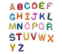 BOHS Wooden Child Educational Aids 26 Alphabets Letter Refrigerator  Fridge Stickers Toys